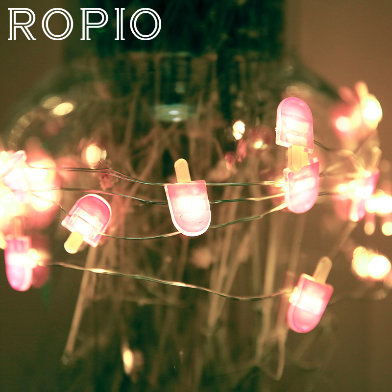 ROPIO 3M Ice Cream 30 LEDs Lighting Strings Silver Copper Fairy String Light With AA Battery For Wedding Party Gift Home Decor