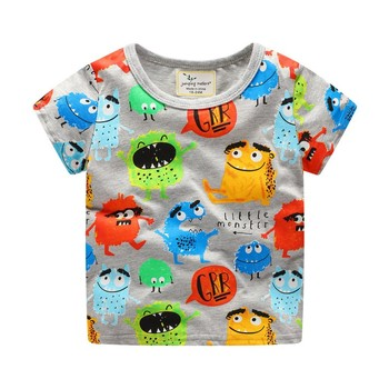Novelty Baby Boys T Shirt Kids Short Sleeve Cartoon T Shirt with Printed Some Cute Cartoon Characters New Boy Clothing Boys T Shirts