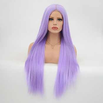 Charisma Light Purple 28 Inch Synthetic Long Straight Hair Lace Front Wigs Glueless For Women Natural Hairline 150% Density - DISCOUNT ITEM  19% OFF Hair Extensions & Wigs