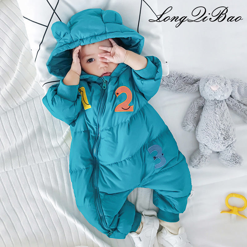 High quality winter children's cotton letter bodysuit warm baby crawling clothes baby down jacket 2018 young children hooded clo