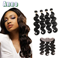 2016 Rushed Peerless Virgin Hair Malaysian Body Wave Full Frontal Lace Closure 13x4 With 4 Bundles Ear To With Bundle Fashion