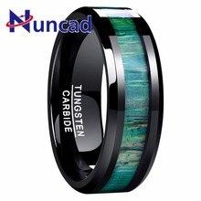 Новый 100% Вольфрам карбида мужской кольцо Green Wood поверхности Вольфрам Сталь кольца обручальные кольца Для мужчин Knuck перстни Fine Jewelry