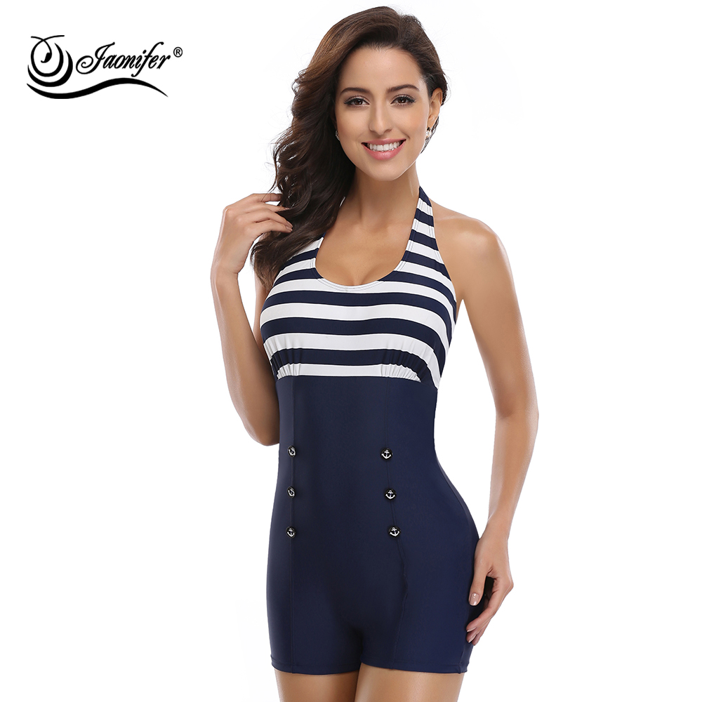 JAONIFER One Piece Swimwear Women Halter Backless Navy Patchwork Style Women's Swimming Bathing Suit Swimsuits Button Beachwear slim backless falbala patchwork blouse