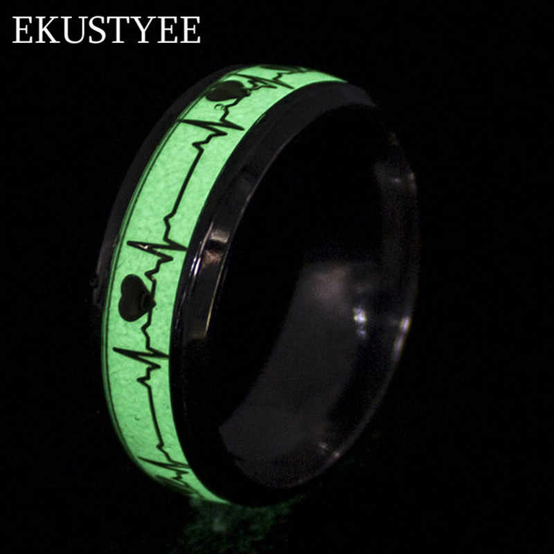 2018 new fashion creative 8mm luminous mood ring glow women gold silver jewelry heart stainless steel rings for men & women free