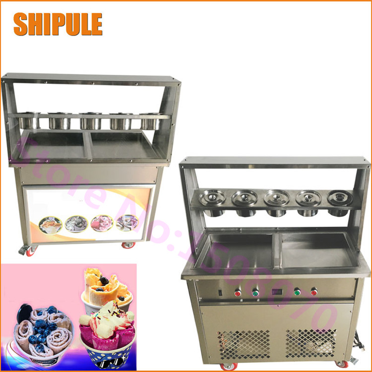 Free shipping double pressure Thailand style fried ice cram roll machine commercial fried ice cram roll making machine edtid new high quality small commercial ice machine household ice machine tea milk shop