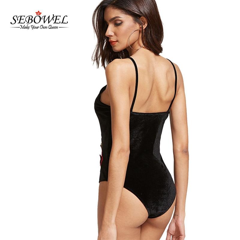 SEBOWEL New Women Bodysuit Black Velvet Floral Rmbroidery Sexy Bodycon Flower Body Overalls Rompers Summer Bodysuits XL