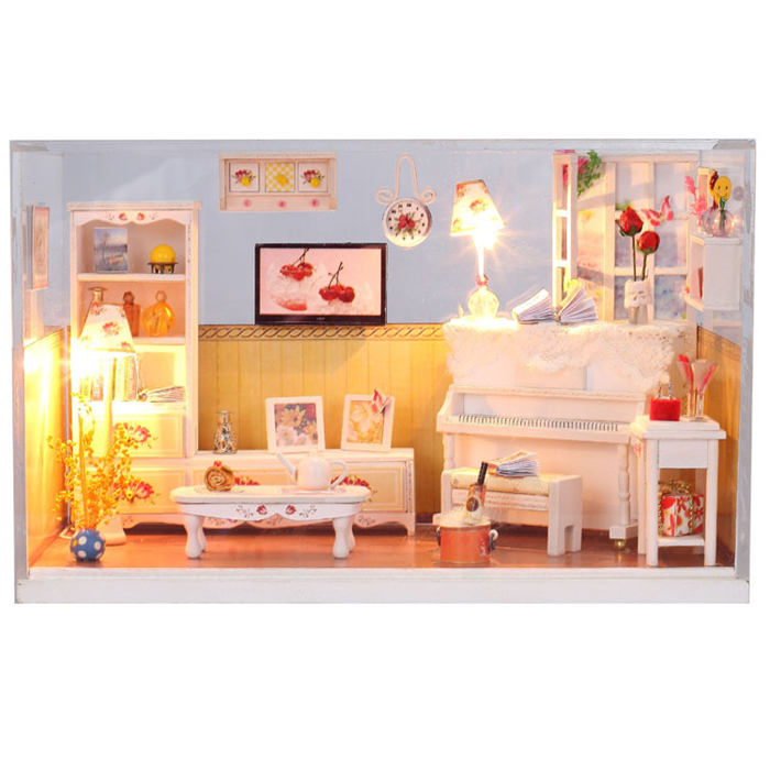 Warm House Miniature DIY Assemble Dollhouse Furniture Miniature Wooden Doll Houses With LED Lights Gift