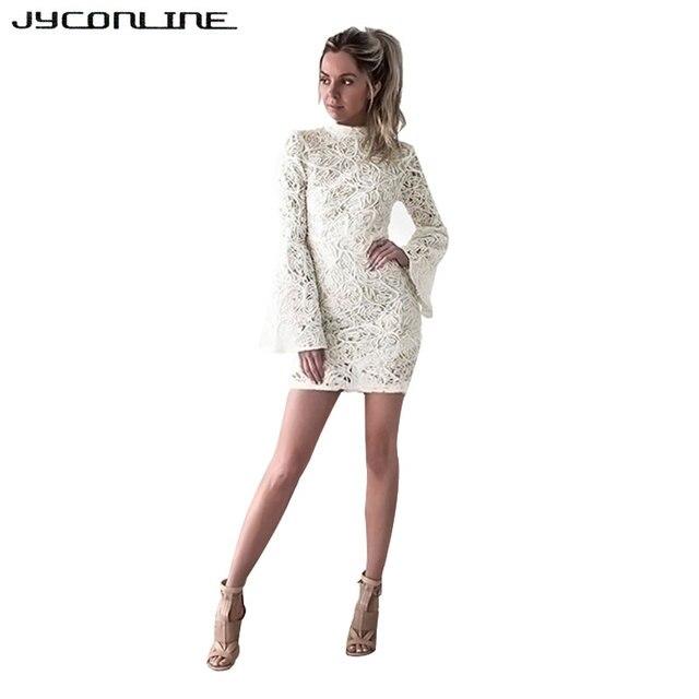 fbaf8d777241be JYConline Sexy Witte Kanten Jurk Flare Mouw Hol Elegante Jurken Vestidos  Vintage Bodycon Sexy Vrouwen Jurk