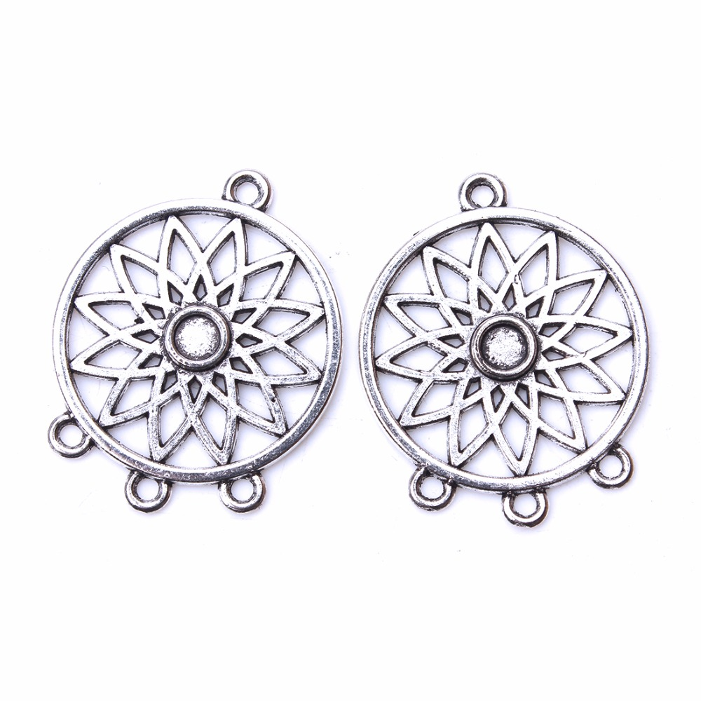 10pcs/lot 33*26mm Trendy Hollow Out Flower Pendant Antique Silver Color Connector Charms DIY Jewelry Accessories