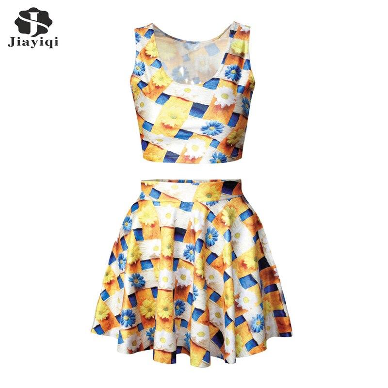 Fashion Womens 2 Piece Summer Sets Charming Daisy font b Tartan b font Design 2 Piece