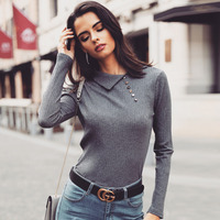 2019 Spring Women Fashion Skew Neck Elegant Workwear Ribbed Shirt Female  Button Design Long Sleeve Casual Top Blouses