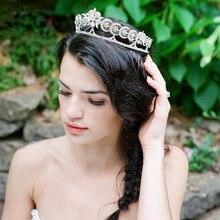 Nueva Llegada Europea Tocados de Novias Tiara Cubic Zirconia Flor de Noche Crystal Crown Accesorios Para el Cabello