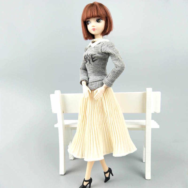 Модная кукольная одежда, элегантный женский топ, блузки, шифоновая плиссированная юбка миди для кукол барби, одежда 1/6, куклы, аксессуары, детские игрушки