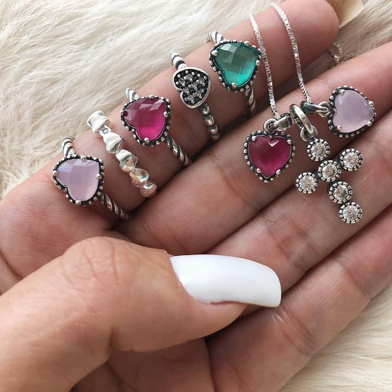 6 Pcs/Set Women Bohemian Retro Cross Heart Crystal Gem Silver Color Necklace Set Fashion Birthday Party Jewelry Gift