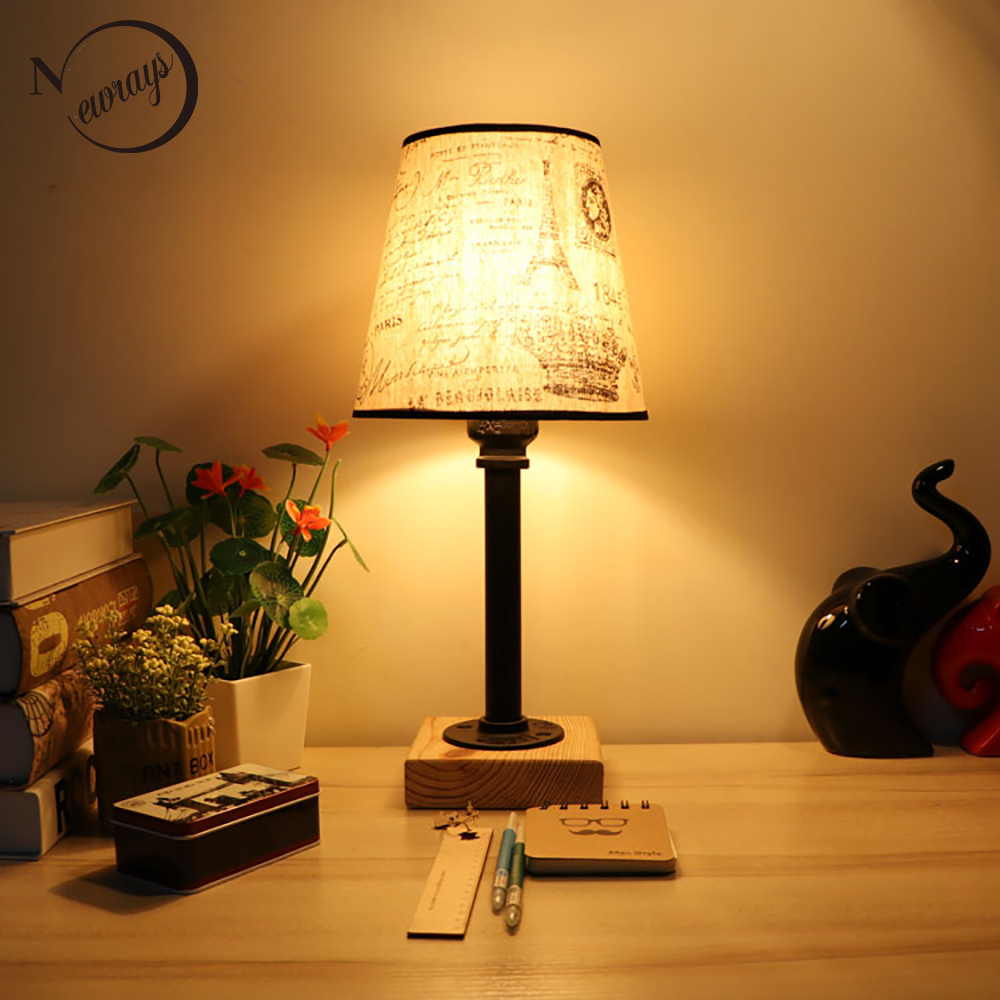 bedroom table lights vintage design retro black bedside steam fabric 10700