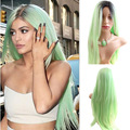 Kylie Jenner Christmas Mint Green Ombre Wig Long Straight Synthetic Wig Heat Resistant Fiber Hair Wig Peruca Peluca