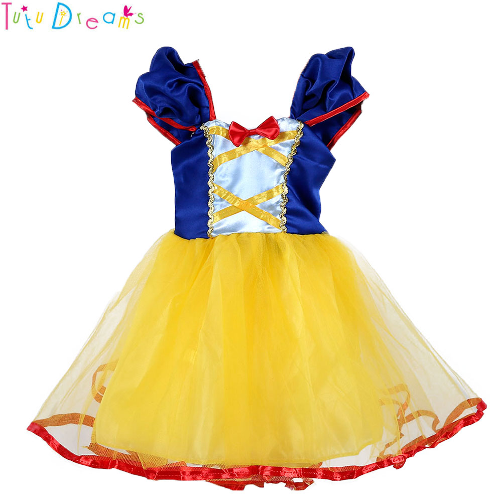 Princess Girl Snow White Birthday Costume Cute Baby Girl Yellow Pageant Party Dress With Red Bow Summer Spring Clothes ClothingPrincess Girl Snow White Birthday Costume Cute Baby Girl Yellow Pageant Party Dress With Red Bow Summer Spring Clothes Clothing