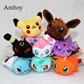 10pcs/lot Anime Monsters Pikachu Squirtle Sylveon Espeon Umbreon 10cm Plush Dolls with Chain Stuffed Soft Toys Kids Gift AP0002
