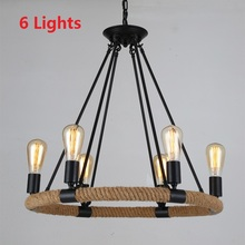 Nordic Antique Hemp Rope Retro Pendant Lights Vintage American Country Loft Industial Dining Room Lamps Fixtures Home 110V-240V