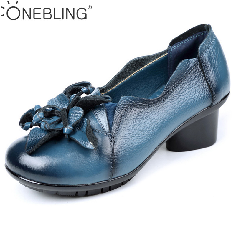 Retro Genuine Leather Women High Heel Shoes 2017 Spring Autumn Fashion Flower Soft Slip-on Leather Shoes Round Toe Pumps genuine cow leather spring shoes wedges soft outsole womens casual platform shoes high heel round toe handmade shoes for women