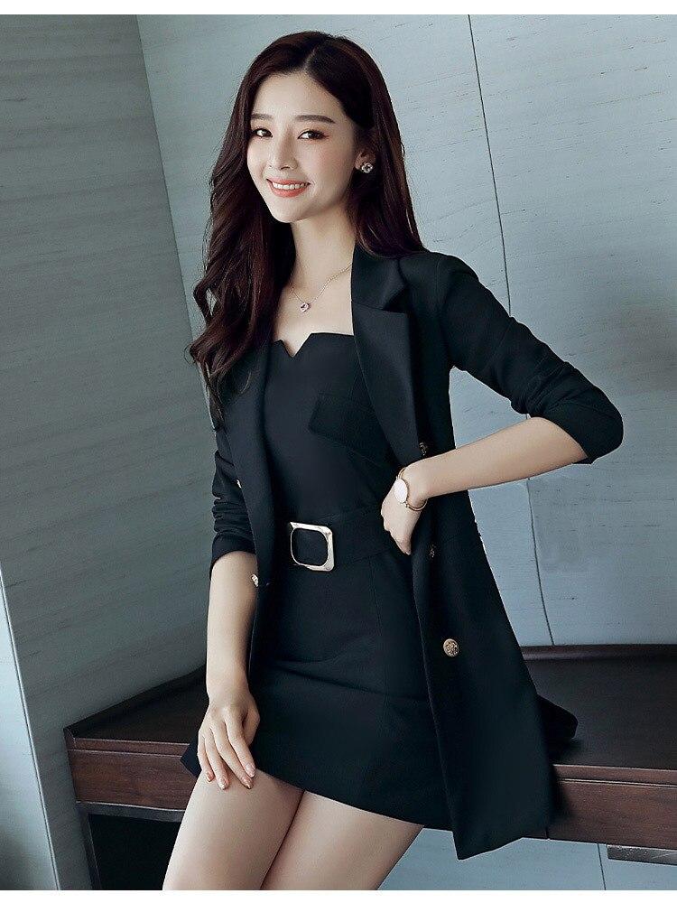 Autumn Business Suit Elegant Office Dress Lady Work 2 Pieces Set Long Sleeve Blazer and Sleeveless Dress Suit Set 30
