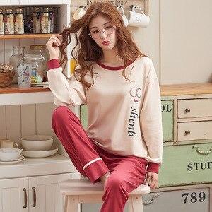 Image 5 - Ropa Para el hogar pijamas de dos piezas 2019 nuevo Pijama de talla grande de algodón Conjunto de Pijama de mujer ropa de dormir Kawaii noche