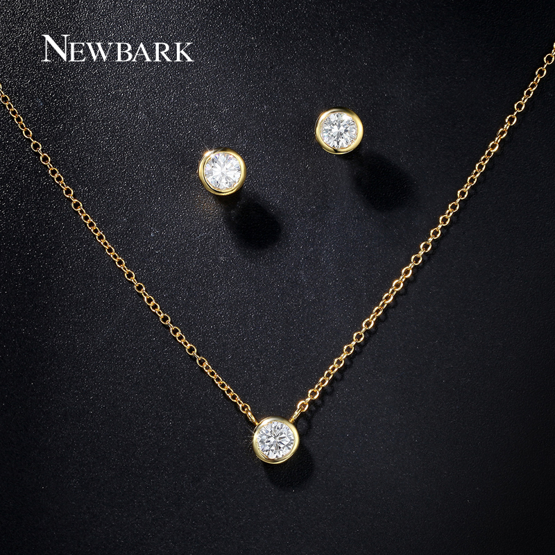 Newbark Women Jewelry Set Gold Color With Round Cubic Zircon Pendant Necklace Small Stud Earrings For Simple Bijoux In Sets From