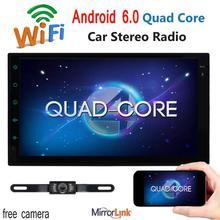 """Quad Core Android 6.0 BT WIFI 7 """"doble din 2 DIN Coche SIN reproductor de DVD en el tablero de Radio Estéreo del GPS Navi headunit + Cámara de visión Trasera"""