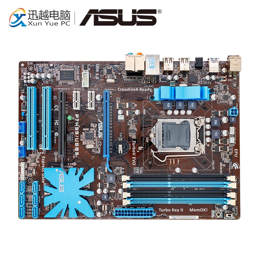 Asus P7H55/USB3 Desktop Motherboard P7H55 USB3 H55 Socket LGA 1156 i3 i5 i7 DDR3 16G SATA3 USB3.0 ATX цена 2017