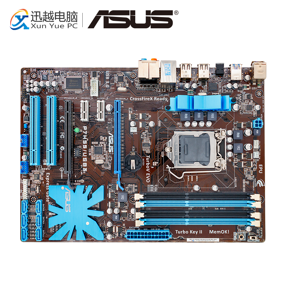 Asus P7H55/USB3 Desktop Motherboard P7H55 USB3 H55 Socket LGA 1156 i3 i5 i7 DDR3 16G SATA3 USB3.0 ATX asus p7p55d e lx desktop motherboard p55 socket lga 1156 i3 i5 i7 ddr3 16g sata3 usb3 0 on sale atx