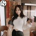 Haut femme blanco mujeres de la camiseta camisa corta de la manga 2016 flare de Manga larga Camiseta Mujer Moda Sexy Camiseta Corta de Corea Tops Blusa