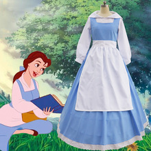 High Quality Movie Beauty And The Beast Princess Belle Blue Maid Dress  Halloween Cosplay Costume Maid 3bfb3de8c727