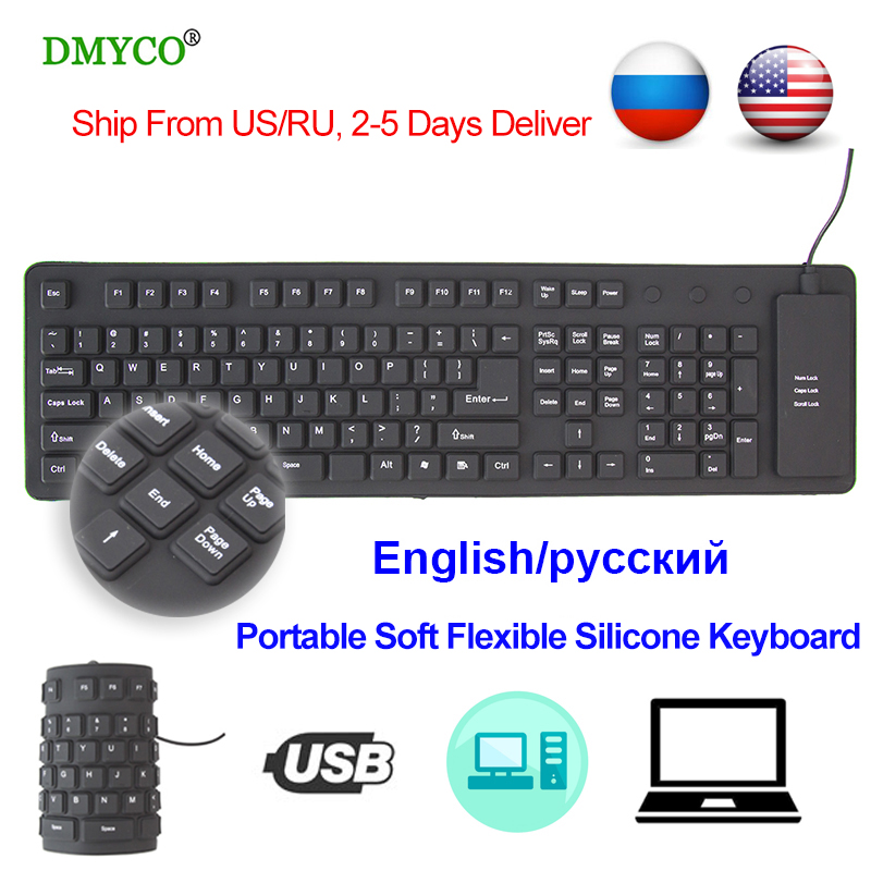 Portable Mini Keyboard Russian/English Flexible Silicone Waterproof USB Keyboards for Android TV Box Smart TV PC Laptop computer 2017 slim mini portable flexible soft silicone usb gaming keyboard foldable for laptop computer optical wired keyboard black