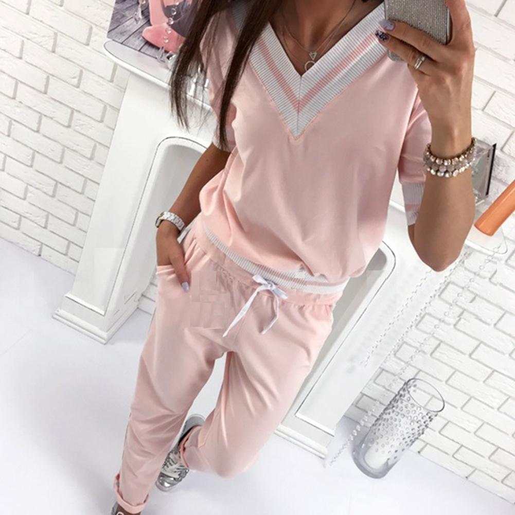 2019 New Arrival Two-piece Pink Sportswear Set For Women Tracksuit Jogging Suits Running Sets Tracksuit For Women