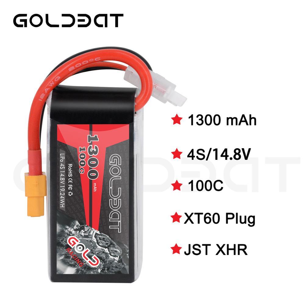 GOLDBAT Lipo batterie 1300 mAh 4 S 100C 14.8 V Softcase Pack avec prise XT60 pour RC voiture camion hélicoptère avion aéronef sans pilote (UAV) Drone FPV Racing 2pac - 2
