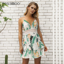 Yovamoo 2018 Summer Bohemian Sexy Deep V-neck Backless Dress Beach Holiday Lace Patchwork Floral Print Hollow Out Dresses