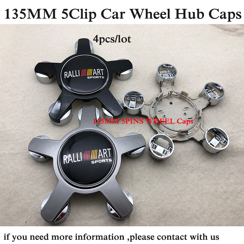 4pcs/set 135mm 5pins Car Wheel hub Caps For Ralliart Lancer 10 9 EX Eclipse outlander Auto badge Emblem logo Wheel Center Cover