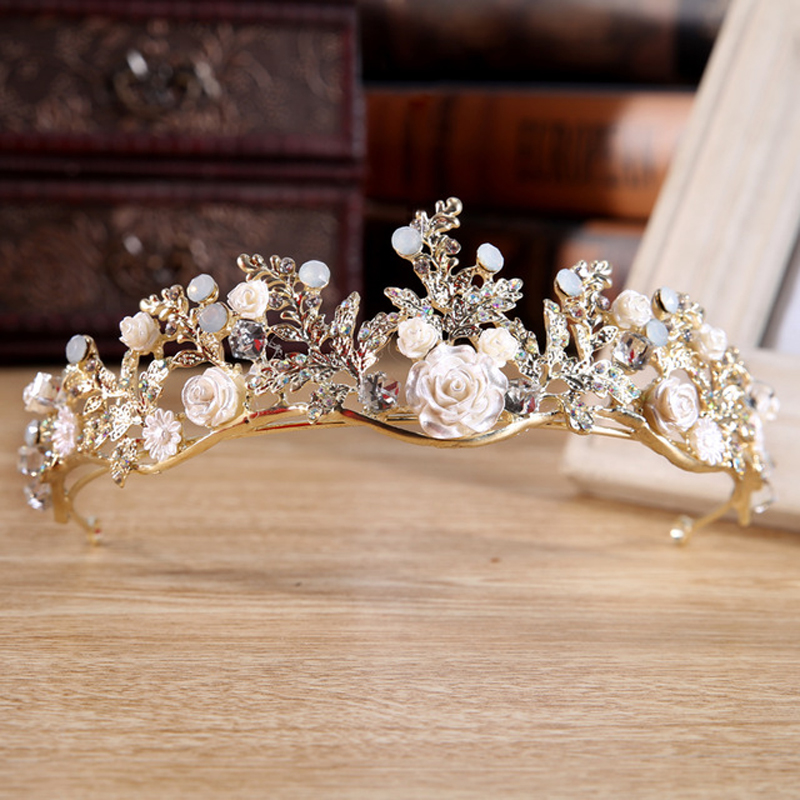 Gorgeous Vintage Gold Wedding Rose Flower Pageant Tiaras Crowns Crystal Bridal Women Hair Jewelry Accessories Headpiece Ornament