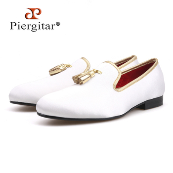 White sequined cloth shoes with brown tassel fashion handmade men loafers