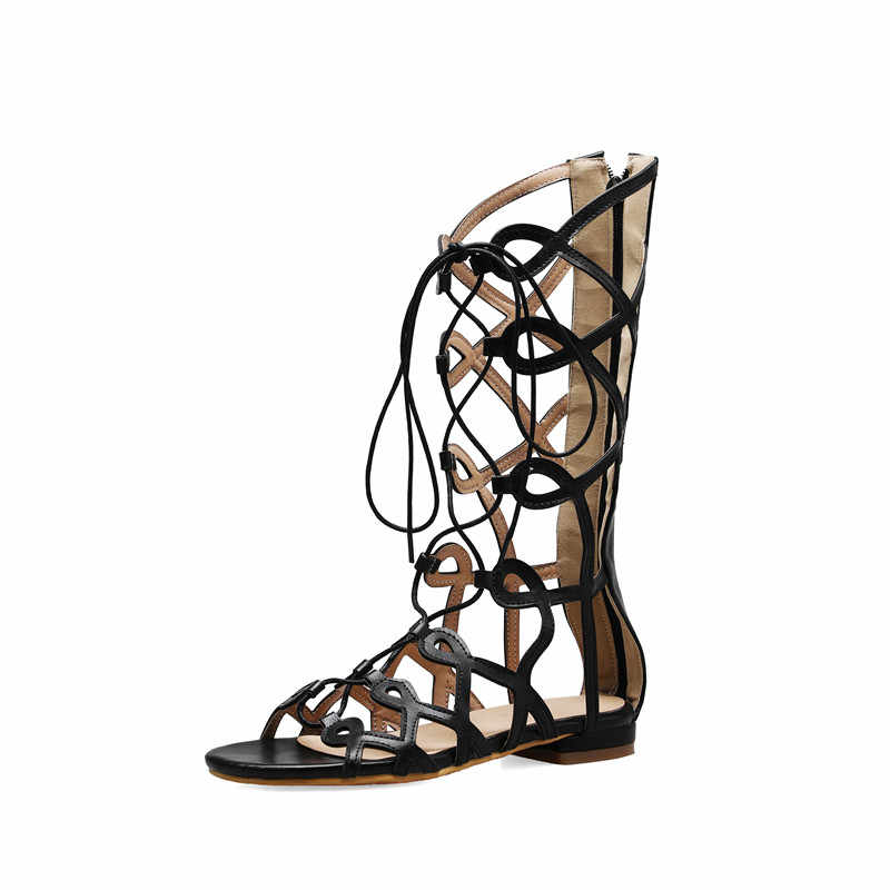 YMECHIC verano 2019 marrón negro hueco Cruz atado alto gladiador sandalias mujeres bajos gruesos tacones Roma Sandalias Zapatos mujer