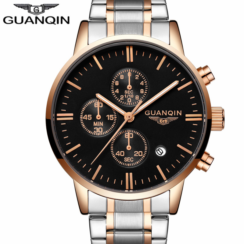 relogio masculino Original GUANQIN Mens Watches Top Brand Luxury Full Steel Quartz Watch Men Sport Luminous Hands Wristwatch guanqin mens watches top brand luxury casual quartz watch men full steel auto date waterproof wristwatch relogio masculino
