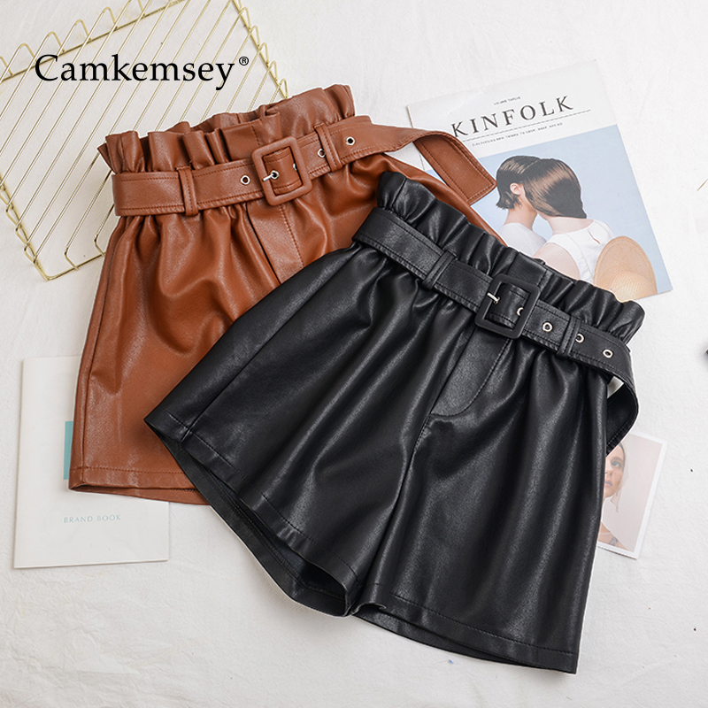 CamKemsey S-5XL Plus Size Autumn Winter PU Leather Shorts Women 2019 Elastic High Waist Wide Leg Leather Shorts With Sashes