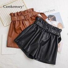 Camkemsey shorts de couro ecológico feminino, calções para mulheres com cintura alta elástica e perna larga, outono/inverno S 5XLShorts