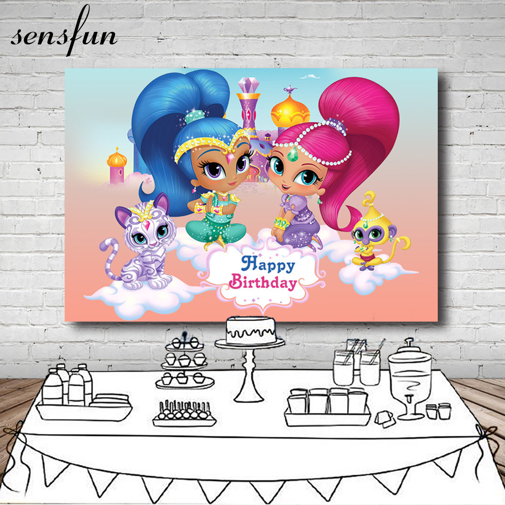 Children Birthday Backdrop Bunting Balloon Cartoon Characters Invitate Celebrate Party Table Banner Backgrounds For Photo Studio Consumer Electronics