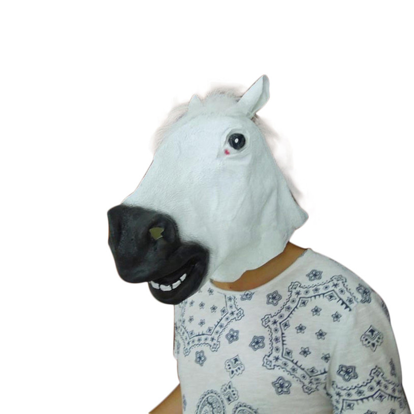 Creepy Unicorn Horse Animals Head Latex Mask Halloween Costume Theater Prank Prop Crazy Party Mask Hot Sale 30