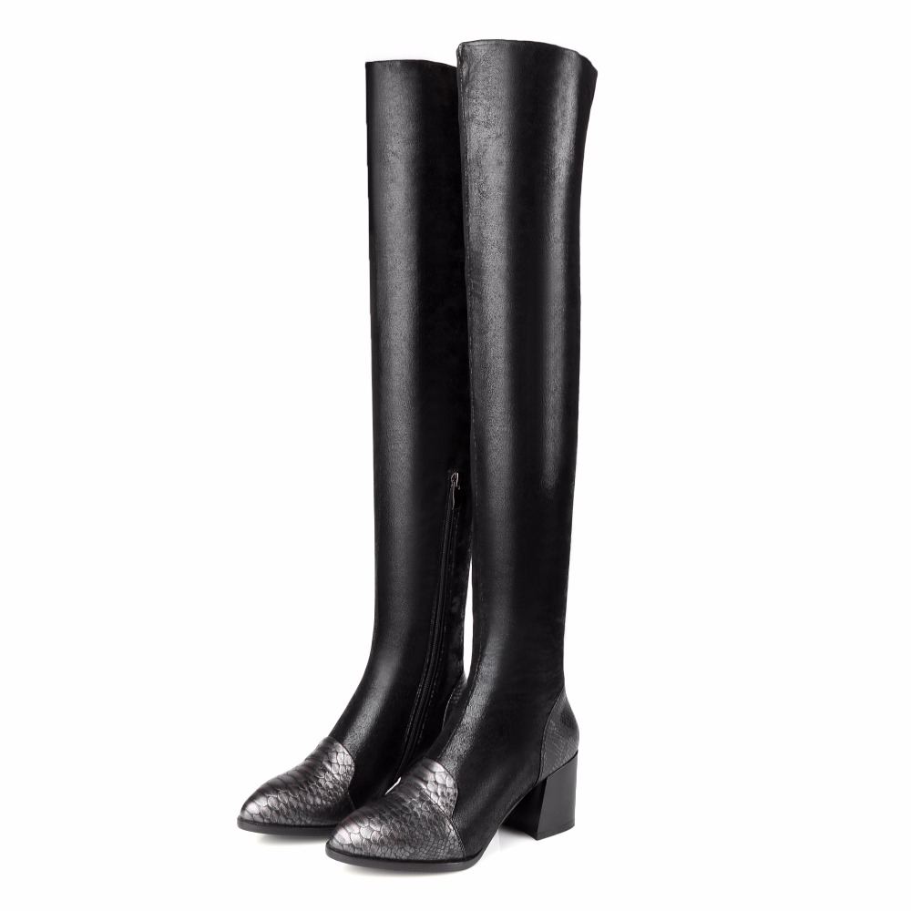 Women Winter Full Grain Leather Short Plush Thick Warm Thigh High Boots Genuine Leather Fashion High Heels Patchwork Boots 1205