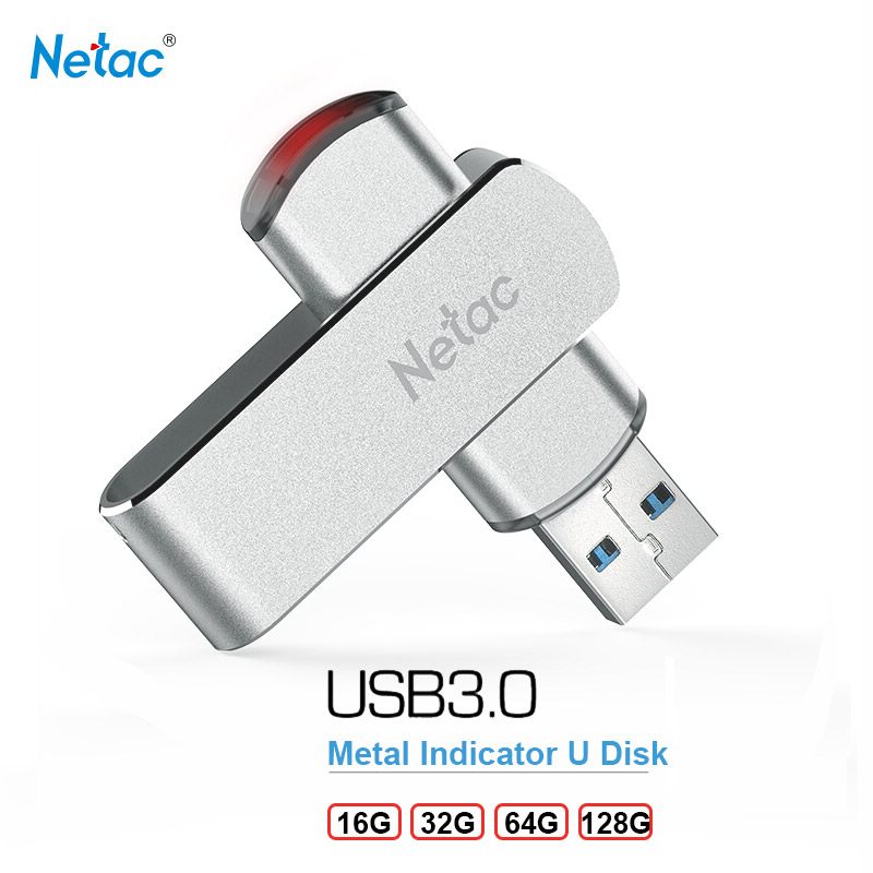Netac 32GB Swivel Metal USB Flash Drive 64GB 16GB 128GB Pendrive U388 Indicator Light 360 Rotate DIY Custom Memory Stick U Disk