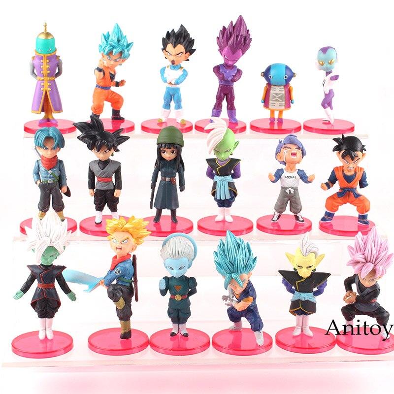 18pcs/set Dragon Ball Super PVC Figures Toys Super Saiyan Blue Son Goku Gohan Vegeta Trunks Mai Zamasu Black Goku Figure Toys