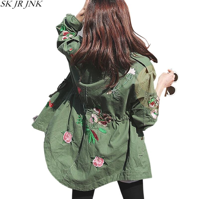 Women Jackets 2018 Spring Autumn Embroidery Print Sashes Safari Style Basic Coat Fashion Loose Casual Slim Chaquetas Mujer WYF85