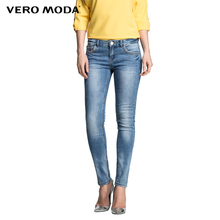 Vero Moda NEW Hot Women Sexy Slim Elastic Fashion Vintage Bleached Skinny Jeans Girl Comfortable Casual denim Trousers 315132002